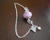 Boro Glass Bead Handmade Lampwork Bracelet--Purple Frit Bead & Celtic Charm Jewelry, Sterling Silver Chain