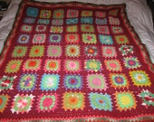 Granny Square Vintage Afghan Throw Neon bright