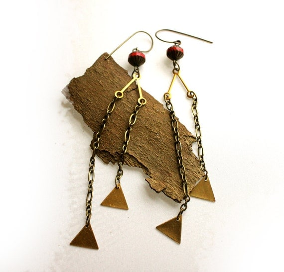 MOXY. red and brass geometric earrings