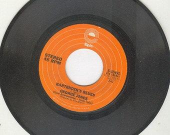 George Jones 45 rpm Bartender's Blues vintage vinyl