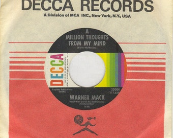 Warner Mack 45 rpm A Million Thoughts From My Mind vintage country music