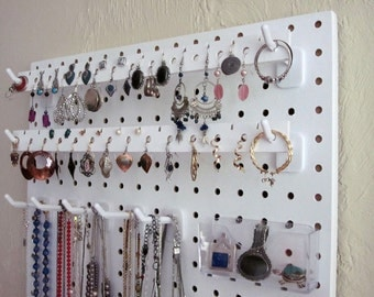 Wall Hanging Jewelry Organizer - White (for necklaces, earrings, bracelets, rings, watches)
