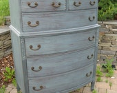 Chic and Shabby Steel Blue Grey Tall Dresser / Chest of Drawers