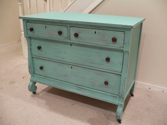 Chic and Shabby Beachy Aqua Dresser