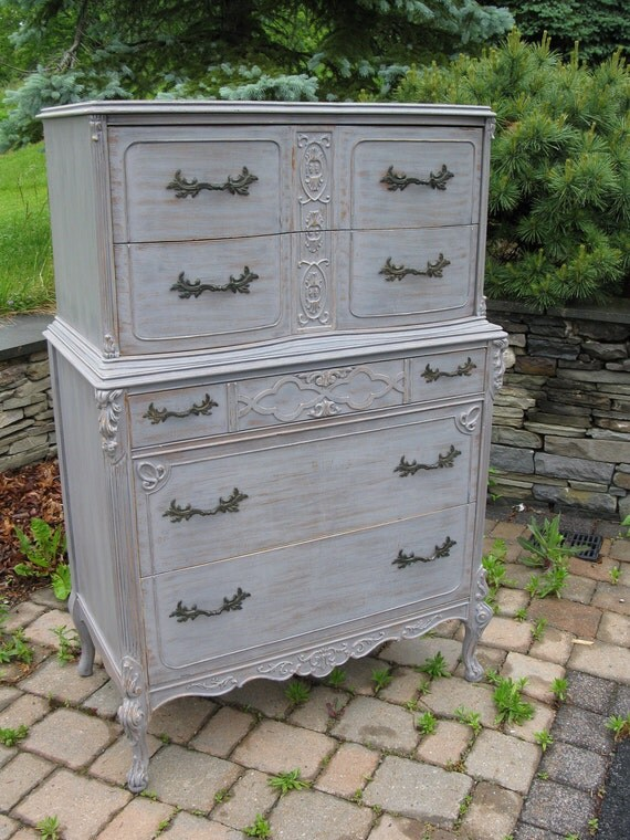 For Claire Chic and Shabby Silver Grey Tall Dresser / Chest of Drawers