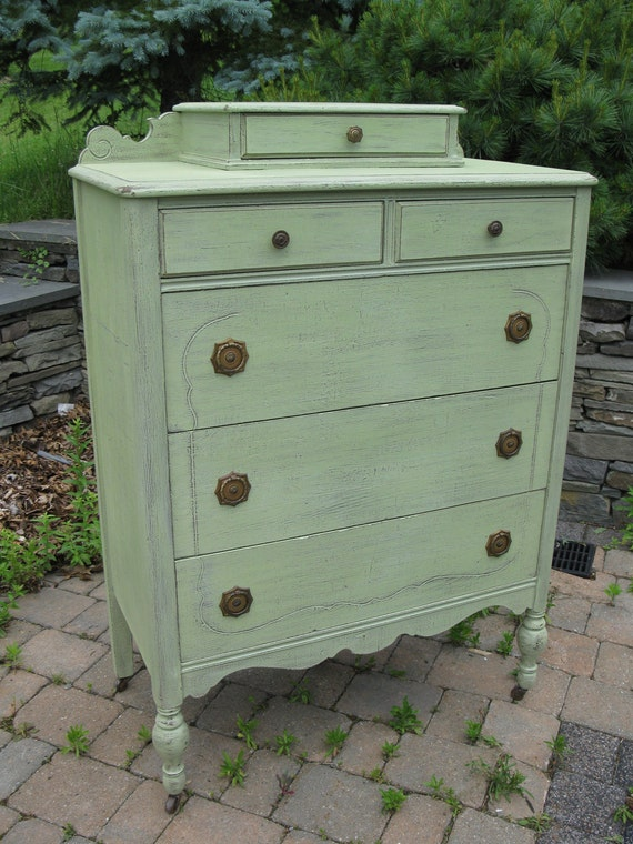 Chic and Shabby Cottage Green Tall Dresser / Chest of Drawers