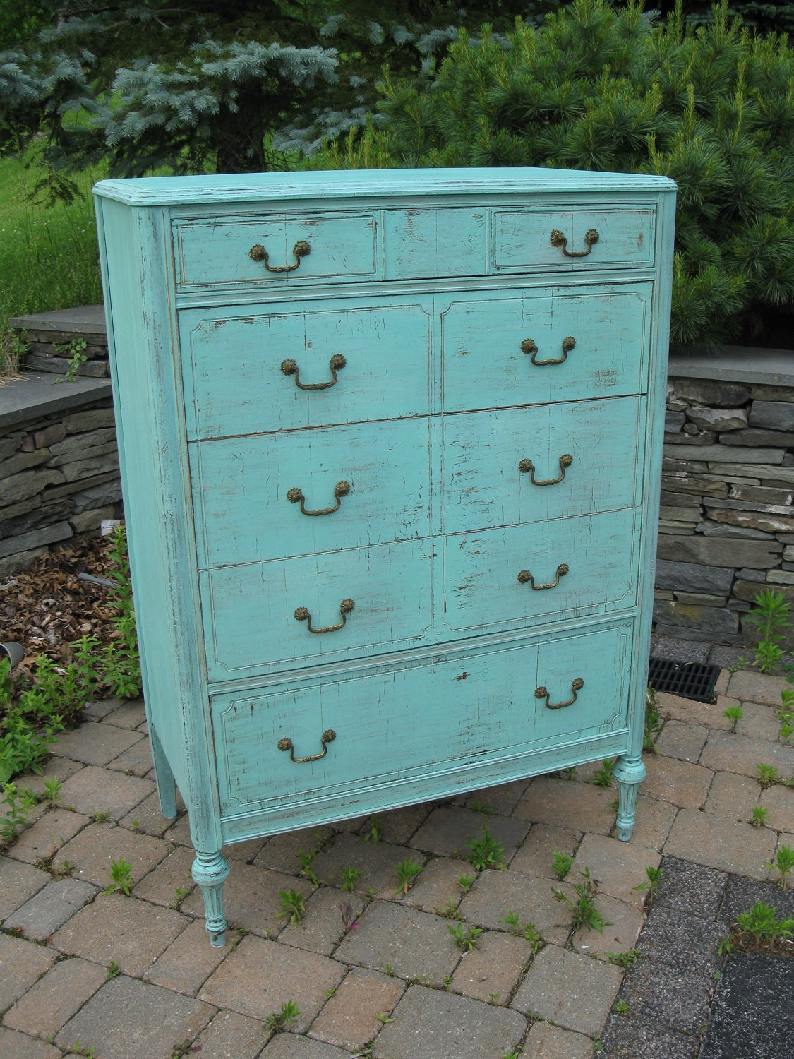 Chic And Shabby Beachy Aqua Tall Dresser By