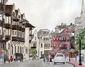 RESERVED - Art Print Rosemary Beach Street Scene No 1 -  8 x 10 -