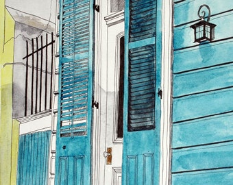 Art Print New Orleans Number 1 - Teal Blue Door Fine Art  French Quarter 8 x 10