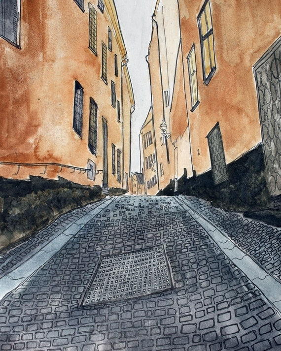 Swedish Art Print Stockholm Alley Scene No 5 -  Pen and Ink and Watercolor 8 x 10