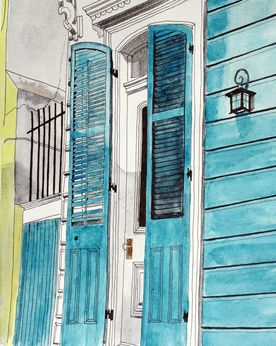 Art Print New Orleans Number 1 - Teal Blue Door Fine Art  French Quarter 8 x 10