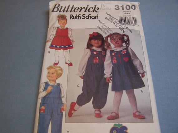 RESERVE FOR SUZANNE Toddler/Children Jumper, Jumpsuit, Blouse Butterick Sewing Pattern 3100 for Sizes 4,5,6