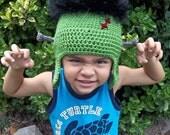 Frankie Frankenstein Ear Flap Hat-Custom Made to Order-Newborn to Adult Sizes