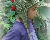 Dinosaur Earflap Hat-Newborn to Adult-Custom Made to Order