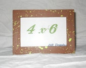 Picture Frame 4x6 chocolate brown with spring green splatter