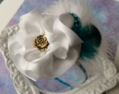 Vintage Inspired Turquoise and White Baby Flower Feather Headband-Baby Headband