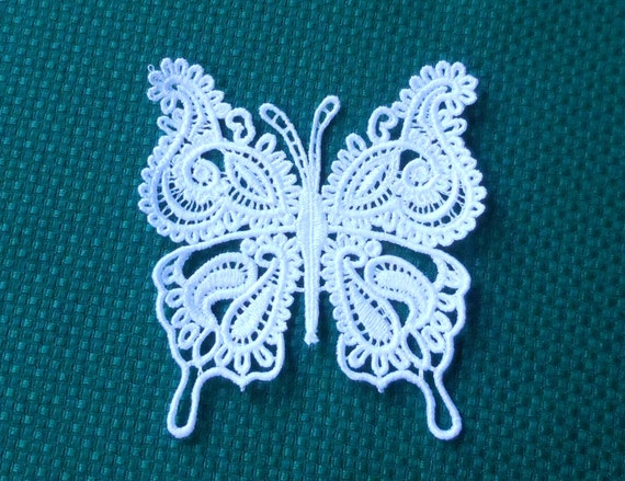 Lace Applique for Crafts or Crazy Quilt - Intricate Butterfly