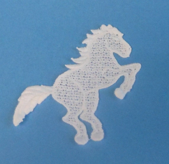 Lace Applique for Crafts or Crazy Quilt - Rearing Horse