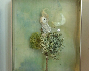 Little owl shadow box **RESERVED**