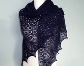 Midnight Blue Dream hand knitted triangular shawl, luxurious 100% Baby Alpaca lace shawl, Navy Blue / READY TO SHIP /