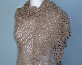 Charm of Venice morning cappuccino hand knitted triangular lace shawl, luxurious alpaca and silk shawl. /READY TO SHIP/