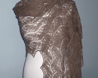 Lady Chamoisee hand knitted rectangular lace shawl, alpaca and silk stole. /READY TO SHIP/