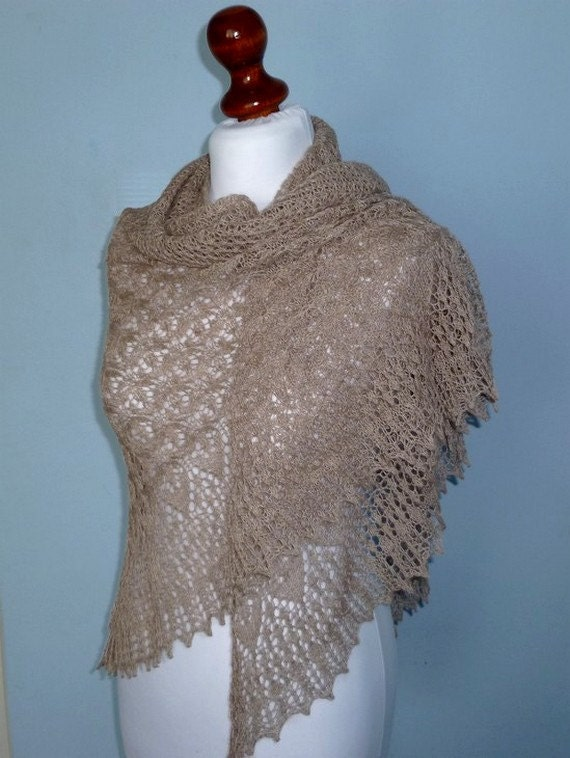 MADE TO ORDER/ Charm of Venice morning cappuccino hand knitted triangular lace shawl, luxurious alpaca and silk shawl.