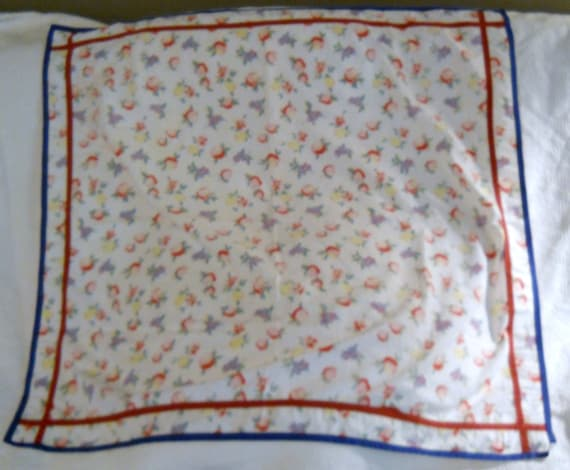 Vintage fruit print handmade tablecloth from the 1930's or 40's
