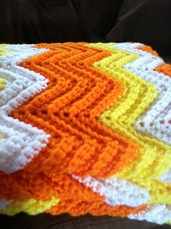 SALE Candy Corn Afghan/ Halloween Ripple Blanket