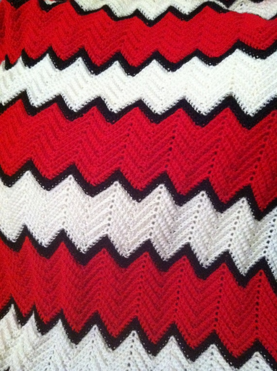Items similar to Red, Black and White crochet ripple baby ...