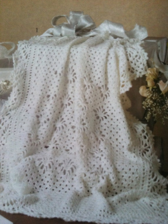 crochet baby keepsake baptism christening afghan/blanket Made to Order