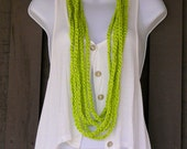 Crochet Infinity Scarf Necklace - Triple Play - Spring, Summer Fashion Accessory - Lime Green