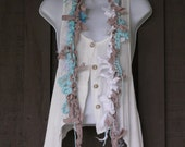 Upcycled, Repurposed, Recycled Fiber Art Scarf - Eco-Friendly - Tan, White, Aqua