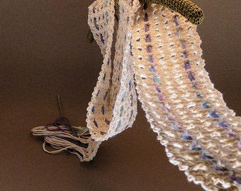 Crochet Summer Scarf - Lightweight Cotton, Natural White with Cool Blue, Purple, Green - The Summer Breeze