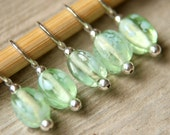 Snag Free Stitch Markers in Light Green Glass, Set of 5, Honeydew Melon, Polka Dots, Spotted