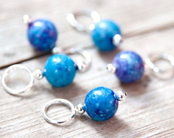 Snag Free Stitch Markers in Cerulean Blue and Purple Gemstone Set of 5, Dyed Jasper