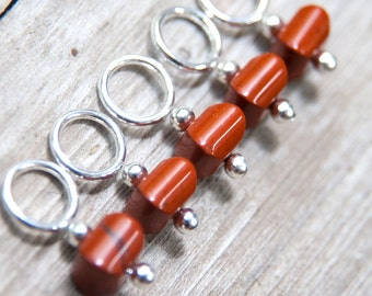 Snag Free Stitch Markers in Burnt Sienna Brown Gemstone Stitch Markers Set of 5
