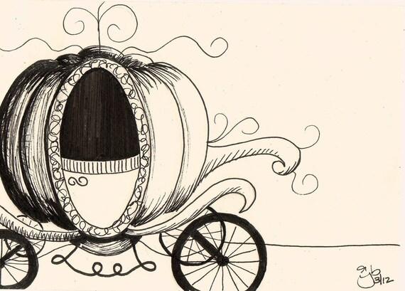 Cinderella S Carriage Grimm 4x6 Pen Amp Ink
