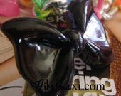 Large Black Resin Kawaii Bow Ring