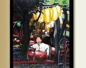 Dinner in TongLi No. 2 - Original Oil Painting restaurant scene16x20