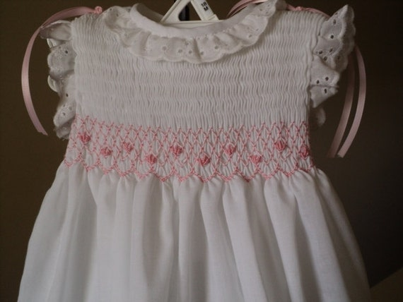 baby dress handmade smocked 0-6m
