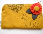 foxy screen printed zipper pouch in mustard and black linen fabric