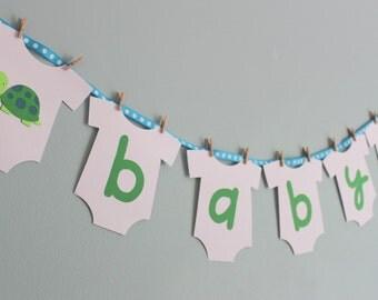 Turtle Baby Shower Banner, Turtle Baby Shower Decorations, Boy Baby Shower