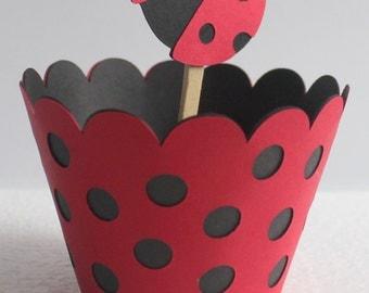 Lady Bug Cupcake Wrappers, ladybug party, ladybug baby shower decoration, ladybug baby shower, ladybug birthday