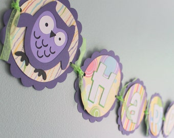 Owl Birthday Banner, Purple Owls, owl birthday party, owl birthday decorations, owl party, personalized