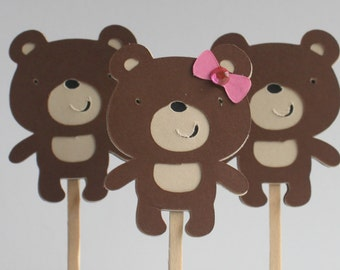 Cupcake Toppers-Girl or Boy Teddy Bears