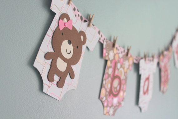 Teddy Bear Baby Shower Banner, Girl, pink and brown, teddy bear baby shower decoration
