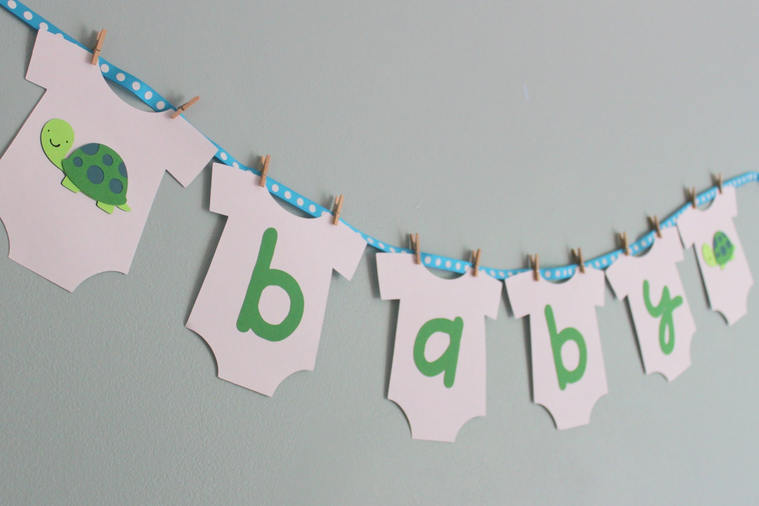 Turtle baby shower banner turtle baby shower decorations boy for Welcome home decorations for baby
