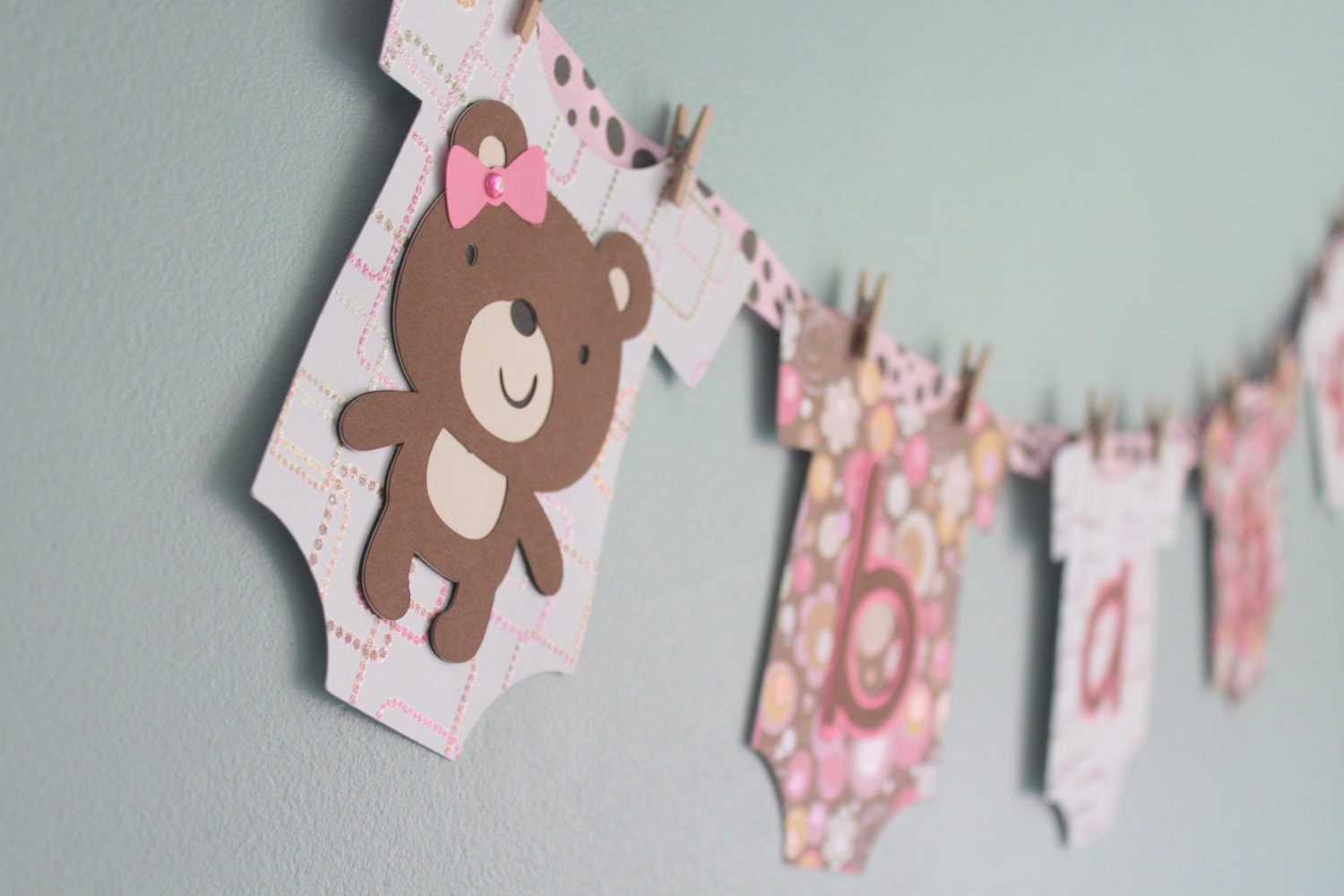 teddy bear baby shower banner girl pink and brown teddy
