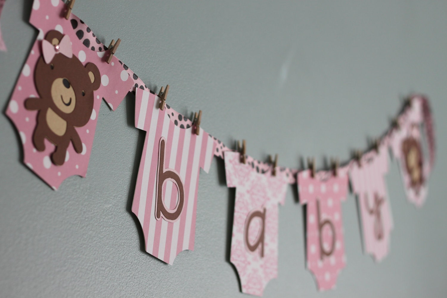 Teddy bear baby shower banner pink and brown girl teddy bear for Baby girl baby shower decoration ideas